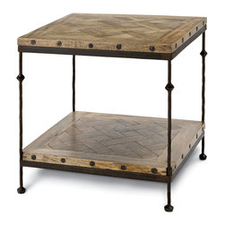 Kathy Kuo Home - Shays Rustic Mango Wood Parquet Metal Square End Table - Classic country French is the vibe you'll get when you see this rustic, wood end table. Beautifully crafted, the meld of the parquet top and the iron legs hit just the right note. You can use it in your country kitchen for storage or in your living room as an end table.
