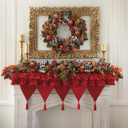 Grandin Road - Enchanted Christmas Mantel Scarf - Beautifully update your display with our ruffled mantel scarf. Mantel scarf features alternating layers of crimson and burgundy ruffles—two layers on the front and three layers on each side. Finished with five pointed front panels, matching red and burgundy tassels, and red and gold rope trim. 100% polyester. Spot clean. 'Tis the season to dress up your mantelshelf with our Enchanted Christmas Mantel Scarf. The ruffled layers of crimson and burgundy velveteen will add volume, color, and an element of the unexpected to your traditional holiday decor. Don't be afraid to improvise: mantel scarves can also transform sideboards and credenzas, too.  .  .  .  .  . Coordinates perfectly with our Enchanted Christmas Tree Skirt . Imported.