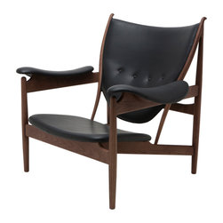 Nuevo Living - Grande Black Leather Lounge Chair in American Ash with Walnut Stain by Nuevo - H - The Grande Lounge Chair in American Ash with Walnut Stain and Black leather features a solid wood frame and 100% leather.