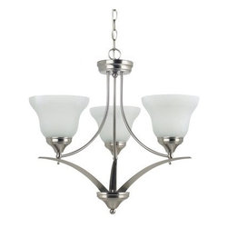 Sea Gull Lighting Brockton Fluorescent 3-Light Chandelier - 23.25W in. Brushed N - The Sea Gull Lighting Brockton Fluorescent 3-Light Chandelier - 23.25W in. Brushed Nickel is a stunning and eco-friendly way to bring warm, ambient light to any room in your home or commercial space. Three upward-facing shades of white alabaster glass each conceal a 13-watt GU24 base bulb. The angular metal frame is finished with the sleek look of brushed nickel that adds a modern flair. 36 inches of hanging chain and 120 inches of lead wire let you find just the right height and location for this appealing and efficient fixture.