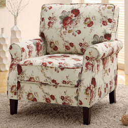 Coaster - Accent Chair, Floral Pattern - Add a country look to any room with this plush accent chair featuring rolled arms, padded seating and a fully reversible back cushion.