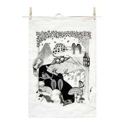 Mini Empire - Mini Empire Linen Tea Towels, Deep Woods - The designer,Jenny von Döbeln, has made a success in Sweden with her fairytale world full of her charactistic owls and other subtle, finely drawn animals. Modern, but with a lovely retro twist we think. These deluxe teatowels with either a sleepy pear in grey or yellow or a wonderful wooded nights cape is inspired by Swedish folklore and will surely garnish any old cottage or modern palace.