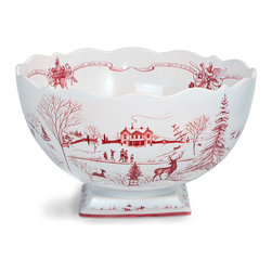 Country Estate Winter Frolic Center-Piece Bowl - Style your table around nostalgic imagery and bold bonhomie when your select the Country Estate Winter Frolic Centerpiece Bowl to seasonally highlight your island, sideboard, or dining table. Ice skaters and elegant stags enjoy a pristine park in the bowl's painted scenes, gracefully drawn in ruby red against the pure white porcelain of the footed bowl.