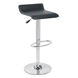 Ale Bar Stool   Lumisource - A chrome pedestal with foot rest supports this leatherette upholstered low-back, adjustable seat.