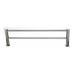 """Top Knobs - Hopewell Bath 18"""" Double Towel Rod - Polished Nickel - Length - 19 1/2"""", Projection - 5 7/8"""", Center to Center - 18"""", Bar Stock Diameter - 5/8"""" Base Diameter - 1 1/2"""" w (x) 1 1/2"""" h"""