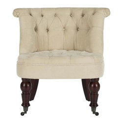 Safavieh - Caress Tuffted Chair - Our Caress barrel-back tufted chair, upholstered in natural cream cotton blend fabric, is full of tradition. Inspired by 18th century English furniture, Caress features button tufting on the backrest, with rolled top and lovely turned legs crafted from birch wood, shown with cherry mahogany finish. Perfect as a side chair or bedroom chair, Caress comes with casters for easy of movement.