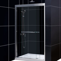 DreamLine - DreamLine SHDR-1248728-04 Duet 44 to 48in Frameless Bypass Sliding Shower Door, - The Duet shower door combines high quality materials with a sleek frameless design for an amazing value. The bypass shower doors slide effortlessly on perfectly engineered guide rails allowing entry into the shower from either side. For an easy installation the shower door offers a total of 1 in. in out-of-plumb adjustments, while the top and bottom guide rails may be trimmed down up to 4 in. in width. 44 - 48 in. W x 72 in. H ,  5/16 (8 mm) clear tempered glass,  Chrome or Brushed Nickel hardware finish,  Frameless glass design,  Width installation adjustability: 44 - 48 in.,  Out-of-plumb installation adjustability: Up to 1/2 in. per side,  Sliding bypass shower door design,  Anodized aluminum profiles and guide rails,  Convenient towel bars,  Door opening: 17 - 21 in.,  Stationary panel: 23 5/8 in.,  Material: Tempered Glass, Aluminum