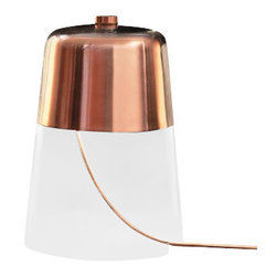 """Oluce - Oluce Semplice 226 Table Light - The Semplice 226 Table Light from OLUCE was designed by Sam Hecht in 2013. This contemporary table light is a simply and functional light fixture that won the Best British Design Award in 2013. Semplice is the combination between two simple materials, metal and glass consisting of a metal cap that hovers in mid-air with the light source inside, and the glass container creates a sense of transparency when light flows onto the surface below. The top of the lamp is available in black matt or satin copper colors. Illumination is provided by one E26, 1x105W Halogen bulb (not included). This high quality table light is made in Italy and features the highest standards in materials and craftmanship.         Product Details: The Semplice 226 Table Light from OLUCE was designed by Sam Hecht in 2013. This contemporary table light is a simply and functional light fixture that won the Best British Design Award in 2013.  Semplice is the combination between two simple materials, metal and glass consisting of a metal cap that hovers in mid-air with the light source inside, and the glass container creates a sense of transparency when light flows onto the surface below. The top of the lamp is available in black matt or satin copper colors. Illumination is provided by one E26, 1x105W Halogen bulb  (not included). This high quality table light is made in Italy and features the highest standards in materials and craftmanship.  Details:                         Manufacturer:            OLUCE                            Designer:            Sam Hecht                            Made in:            Italy                            Dimensions:                        Base Diameter: 11.8""""(30cm) X Height: 15.4""""(39cm)                                         Light bulb:                        E26, 1x105W Halogen bulb (not included)                                         Material:            Metal, Glass"""