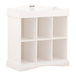 Stork Craft - Stork Craft Beatrice 6 Cube Organizer/Change Table in White - Stork Craft - Baby Changing Tables - 03530701 - This Stork Craft Beatrice organizer changer offers ample storage for your baby's items and transitions easily from a changer into a versatile organizer for your growing child's toys and accessories. Featuring an elegant sturdy base and classic curved back this piece will be a great addition to your baby's room.