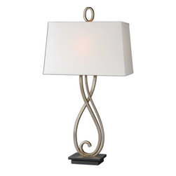 Uttermost - Uttermost 26341  Ferndale Scroll Metal Lamp - The scroll metal base is finished in a lightly antiqued silver-champagne with a dark bronze foot. the rectangle, tapered hardback shade is off-white linen fabric with natural slubbing.