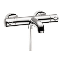 Hansgrohe - Hansgrohe 13241001 Ecostat Exposed Tub-Shower Thermostatic in Chrome - Tub-Shower Thermostatic in Chrome belongs to Shower Collection by Hansgrohe The Ecostat Exposed Tub-Shower Thermostat is an external mixing valve in a sleek, compact design with no behind-the-wall rough needed. A straight forward and attractive option for shower control. It features expanded control for the shower with an anti-scald 100 degree safety stop as well as a diverter to direct flow to either the shower or the tub spout.  Faucet (1)