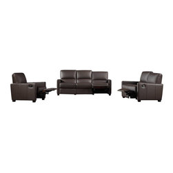 VIG Furniture - 641 Full Brown Top Grain Italian Leather Sofa Set With Reclining Seats - The 641 sofa set is a great addition for any modern themed living room decor. This sofa set comes fully upholstered in a beautiful brown top grain Italian leather. High density foam is placed within the cushions for added comfort. Only solid wood products were used when crafting the frames making the sofa set very durable. Each piece features reclining seats adding that extra touch of relaxation.