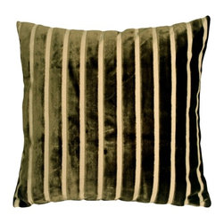 Pillow Decor - Pillow Decor - Monroe Velvet Stripes 22x22 Throw Pillow - This gorgeous pillow features luxuriously soft velvet stripes in deep moss green on a sturdy upholstery grade fabric backing in cream. Ideal for both traditional and contemporary settings, this generous 22 inch square pillow works wonderfully on larger sofas, sectionals, beds or daybeds.