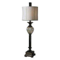 Carolyn Kinder - Carolyn Kinder Camerana Transitional Table Lamp X-1-82992 - Antiqued silver plated mercury glass with black nickel plated metal details. The round modified drum shade is an off white linen fabric.