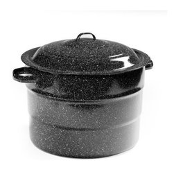 Granite Ware 21 Quart Steel Water Bath Canner - The Granite Ware F0707-1 21 Quart Steel Water Bath Canner makes it easy to enjoy your favorite home-grown fruits and vegetables all year long! Easy to use and made of durable porcelain over steel this huge pot holds seven quart jars nine pint jars or 13 half-pint jars. The included wire jar rack makes lifting jars out easy and it's custom-fit to not waste any space. Loop handles on both the lid and the pot for extra safety and a domed lid traps in heat for more efficient processing. It's dishwasher-safe too! This canner has a slight indentation on the bottom so it works well on gas or electric stoves; for this reason it is not recommended for glass cooktops. This steel water bath canner provides an easy way to serve safe wholesome and delicious food! Dimensions: 16.25L x 10W x 14.25H inches. About Columbian Home ProductsNo one knows the ins and outs of the kitchen better than Columbian Home Products. Specialists in cookware bakeware canning pizza pans roasters and even tea kettles CHP sets high standards for all things delicious. From appetizer to dessert they have your cookware. Their central location in Lake Zurich IL means fast delivery.