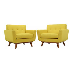 Modway Imports - Modway EEI-1284-SUN Engage Armchair Wood Set of 2 In Sunny - Modway EEI-1284-SUN Engage Armchair Wood Set of 2 In Sunny
