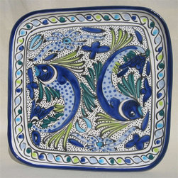 Le Souk Ceramique - Aqua Fish Square Dinner Plate - 11 in. wide. Hand Painted . Hand Made . Dishwasher safe . Microwave safe . Made in Tunisia. Lead free glazes . Meets CA Prop 65 . Meets all Federal StandardsThe Aqua Fish pattern is a classic. Drenched in cool hues of azure, aqua and sea green and a coveted deep cobalt blue, Aqua Fish is a design awash in fun. Just imagine a summer seafood feast served with these bowls and platters.
