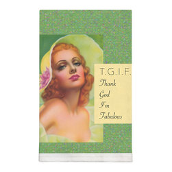 003-T.G.I.F. Dish Towel - These vintage kitchen towels will bring back great memories. Add a touch of fun in your kitchen.  Your friends will love them and company will admire your good taste. Silkscreened on 100% cotton.