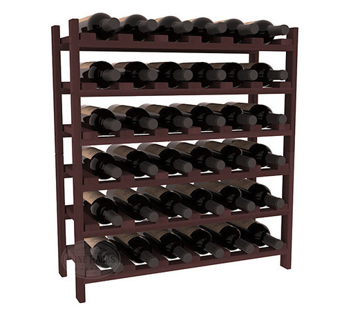 Wine Racks America - 36 Bottle Stackable Wine Rack in Premium Redwood, Walnut Stain - A pair of discounted wine racks allow double wine storage at a low price. This rack accommodates all 750ml bottles, Pinots and Champagnes. The quintessential DIY wine rack kit. Your satisfaction is guaranteed.
