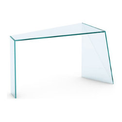 Tonelli Design - PENROSE Console Table - Penrose designed by renowned Japanese designer Isao Hosoe in 2013 seems to rest on one point. Bonding the finely finished glass slabs in the oblique cut of every edge creates an illusion that the glass becomes lighter and bends on itself, remaining in perfect balance. Penrose is the aesthetic and functional metaphor of mankind's challenge to exceed nature and its balance by using glass. It is constructed entirely of extra clear glass.