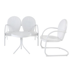 Crosley - Griffith 3 Piece Metal Outdoor Conversation Seating Set - Griffith 3 Piece Metal Outdoor Conversation Seating Set - Loveseat & Chair in Sky Blue Finish with Side Table in White Finish Relax outside for hours on our nostalgically inspired Griffith metal outdoor furniture. Kick back while you reminisce in this seating set, designed to withstand the hottest of summer days and other harsh conditions. The furniture's non-toxic, powder-coated finish is available in various colors to complement your outdoor accessories.