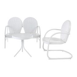 Crosley - Griffith 3-Piece Metal Outdoor Conversation Seating Set in White - Griffith 3 Piece Metal Outdoor Conversation Seating Set - Loveseat & Chair in White Finish with Side Table in White Finish