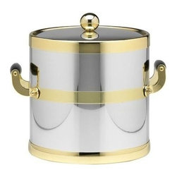 Kraftware - Americano 3-qt. Ice Bucket in Shiny Chrome and Brass w Bands - Wooden handles. Metal cover. Made in USA. 9 in. Dia. x 9 in. H (3 lbs.)The Grant Signature Home Collection's Americano Collection is the only Real Metal Collection in the U.S.A. This is real home entertaining quality at affordable prices.