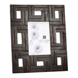 "Lazy Susan - Chocolate Teak  Patterned Frame, 5 X 7 - -Use 5"" X  7"" Photo"