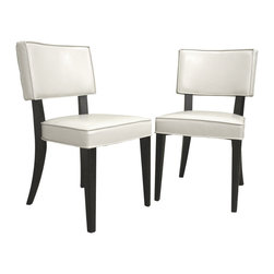 Wholesale Interiors - Thyra Cream Dining Chairs, Set of 2 - These ultra-chic dining chairs make a surprisingly bold statement despite their simplicity. Each chair features a comfortably padded seating area and is finished with cream bonded leather upholstery. The legs and frame are constructed with solid wood with a deep, rich wenge color finish. Add these to an equally modern dining table to complete your eating space. Assembly is required. Features:- Cream bonded leather seating- Lightly padded seats- Solid wood frame and legs- Wenge-finished wood.