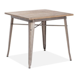 Zuo Modern - Titus Dining Table Rustic Wood - This table has a solid reclaimed wood top with a solid steel frame in a faux rust galvanized steel finish.