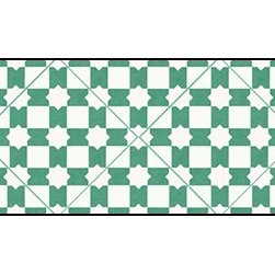 Casart coverings - Khatamazed, Green/White Wallcoverings, Green/White, Small Roll (37 Sq Ft), Casar - Add some Marrakesh style to your home dcor with this Moroccan-inspired collection of faux tile patterns.