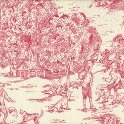 """Close to Custom Linens - 90"""" Tablecloth Toile Faded Rose - Looking for a classic twist on modern day decor? The idyllic scenes typical of toile prints create delicate charm in this collection of bed, table and window linens. You can mix different pattern colors (or keep all one pattern for a clean look), or combine with stripes and checks for a little slice of heaven in your humble abode."""