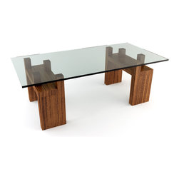 Viesso - Knar Rectangular Coffee Tables - With the raised pegs, the glass and design are elevated. This modern desk utilizes raised pegs to create the unique look and functionality. In contrast to the overall minimalist look, these break through and give the desk a subtle variation of texture and levels. This all creates a surface area under the glass for storage. And you thought it was just for show.