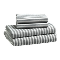 Stripe Sheet Set, White/Feather Gray - I adore these sheets. I actually own them, and they are beyond versatile. They can be used for all types of color schemes and styles, and can be mixed and matched with fun patterns. They would look fantastic paired with white pillowcases.