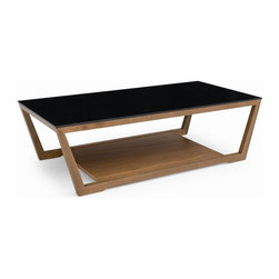 Calligaris - Element Low Coffee Table with Glass Top - Low coffee table ideal for use in front of your sofa. Trapezoidal wooden frame with a base that can be used as an extra shelf. Rectangular toughened glass top. Assembly required. 47.25 in. W x 23.625 in. D x 13.875 in. H