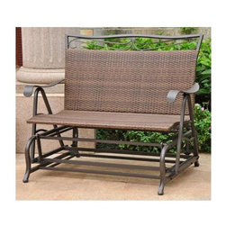 International Caravan - Double Patio Glider Chair in Antique Brown Fi - Finish: Antique BrownAll weather resistant. UV light fading protection against sun light. Coated frame. Smooth gliding motion for excellent comfort an style. Made from wicker resin and steel frame. Assembly required. 39 in. W x 34 in. D x 42 in. H (63 lbs.)