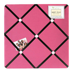 Sweet Jojo Designs - Pink Soccer Fabric Memo Board - The Pink Soccer Fabric Memo Board with button detail is a great way to display photos, notes, and postcards on your child's wall. Just slip your mementos behind the grosgrain ribbon to create an engaging piece of original wall art. This adorable memo board by Sweet Jojo Designs is the perfect accessory for the matching children's bedding set.