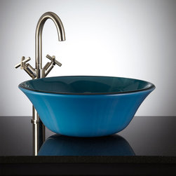 Azure Blue Flared Glass Vessel Sink - The soothing hues of the Flared Glass Vessel Sink lend a tranquil look to any bath decor. Complete this amazing sink with a tall vessel faucet.