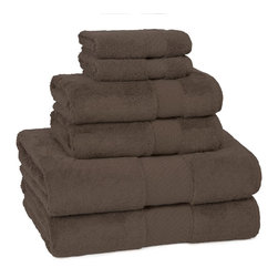 Kassatex - Kassatex Elegance Collection 6 pc. Set, Chocolate - Calgon, take me away! The extra fluff and absorbency of this luxurious towel set will leave you daydreaming about your next shower all day long. Who knew cotton could be so seductive?