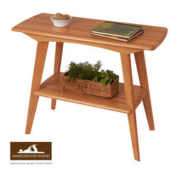 Retro Console Table by Manchester Wood - Accent your decor with this solid wood console table. With its smooth lines and distinctive retro influence, this piece offers timeless appeal. Bottom shelf ideal for open storage. Crafted from sustainable Northeast beech hardwood at our mill in the Adirondack foothills of New York. 100% Made in USA. Built to last generations.