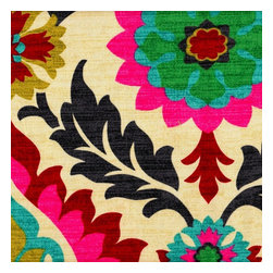 "Close to Custom Linens - Gathered 22"" Santa Maria Desert Flower King Bedskirt - Santa Maria Desert Flower, from the Waverly Hacienda Haven Collection, is an elegant framed floral design with strong Spanish influence. The saturated colors of charcoal, hot pink, poppy red, grass green, aqua blue, and pale lime green are artfully showcased against a warm sand background."