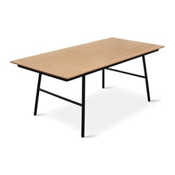 Gus Modern - Gus Modern | School Table - The School Table is a tasteful and practical design with a no-nonsense, utilitarian appeal. The black, powder-coated steel legs are slightly splayed for stability and contemporary style. This simple and versatile table will add a minimalist highlight to either your living room or modern home office. The stainless steel legs come with non-marking plastic leveler feet that are compatible with both wood and carpeted floors. The exposed ply top is available in your choice of wood finish.