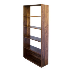 2131 - Walnut Book Shelf - This simple and beautiful walnut bookshelf has five levels, with the bottom closed off. The piece can be used against a wall or placed sideways to help separate a space, with displays on the shelves able to be placed facing either direction.