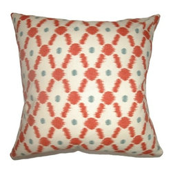 The Pillow Collection - Farlow Link Pillow Poppy Red - This playful throw pillow is a perfect accent piece for your room. The decor pillow features a link print pattern combined with vivid colors of Poppy Red in white, blue and red. This contemporary pillow is stylish and upbeat, which makes it an ideal accent piece in your home design. This square pillow is made from 100% cotton fabric. Hidden zipper closure for easy cover removal.  Knife edge finish on all four sides.  Reversible pillow with the same fabric on the back side.  Spot cleaning suggested.