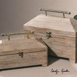 """Uttermost - Tadao Natural Wood Boxes - Set of 2 - Lightly Antiqued, Natural Wood With Metal Accents On The Hinged Lids. Sizes: Sm-14x9x6, Lg-16x13x8. Uttermost's Decorative Boxes Combine Premium Quality Materials With Unique High-style Design. Overall Dimensions: 8.25""""D x 15.75""""W x 13.25""""H"""