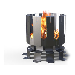 Decorpro - Ion Large Outdoor Firepit in Gunmetal Grey - ION by Decorpro was inspired by the rigid geometry of Roman architecture. This fire pit is the perfect addition to any backyard, patio, sitting area, cottage or beach. The grand scale and unique form will always be the focal point of any conversation. Ion has been designed with slits along the tall columns to allow you to easily rest skewers, marshmallow sticks or even rotisserie spits.