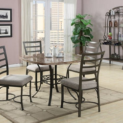 Daisy Round White 5 Piece Dining Table set - 70057SQWH - Set includes Dining table and 4 Side chairs
