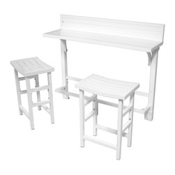 Modern Balcony Bar, White - The Modern Balcony Bar is the perfect item for any balcony. The great space saving design uses minimal space, yet retains complete functionality. This 4' bar comes complete with 2 bar stools. When not in use, the bar stools fit conveniently under the bar. Two adjustable hooks allow the bar to be mounted to virtually any balcony.
