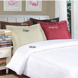 None - Microfiber Stripe 3-piece Duvet Cover Set - Set the tone in your bedroom with this plush microfiber duvet cover set. This set is machine-washable,as the durable synthetic fibers won't shrink or fade in the wash. The set is available in a range of colors that will fit any decor.