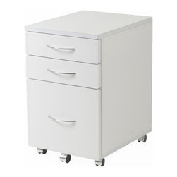 Euro Style - Laurence Leather File Cabinet - White Leather/Chrome - This is a great idea. The cabinet is covered in leather. Black, brown or white all including chrome drawer pulls and casters. It's a great way to enhance what is essentially a common and much needed object. Call your lawyer! She's going to love these.